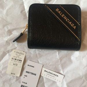 Balenciaga Blanket Billfold Leather Wallet, Black